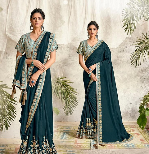 TEAL BLUE & SKY BLUE SATIN GEORGETTE SAREE