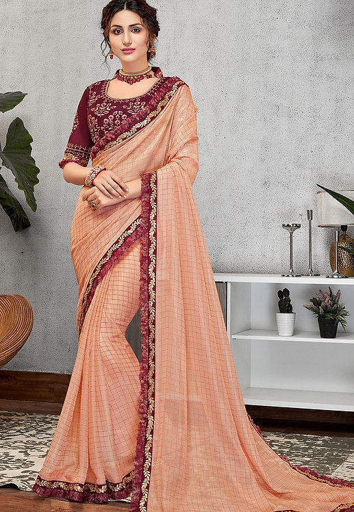 TRADITIONAL PEACH SILK GEORGETTE EMBROIDERED SAREE
