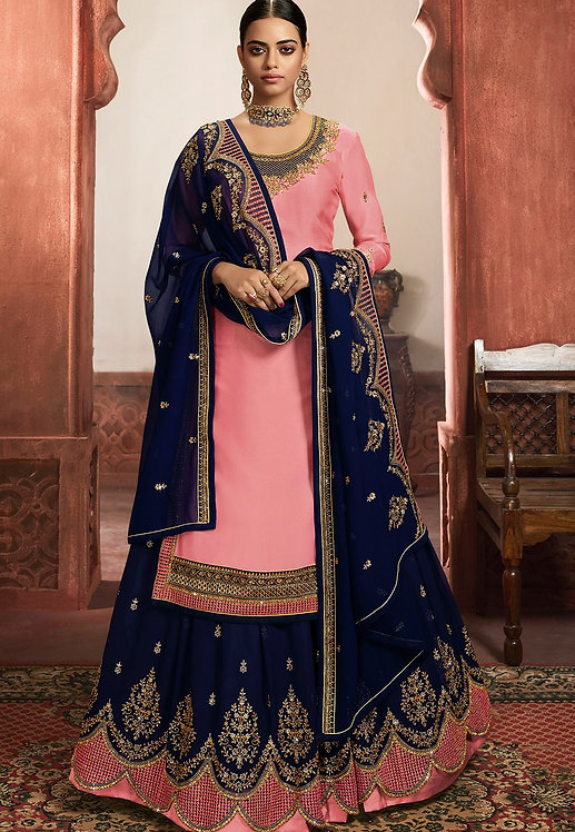 PINK & BLUE SATIN GEORGETTE EMBROIDERED LEHENGA STYLE SUIT