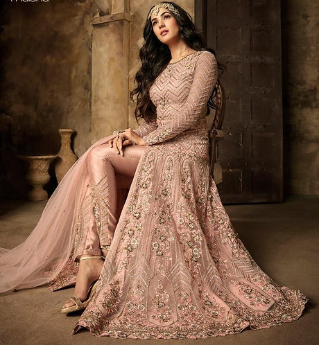 PEACH NET DESIGNER PARTY WEAR SALWAR SUIT