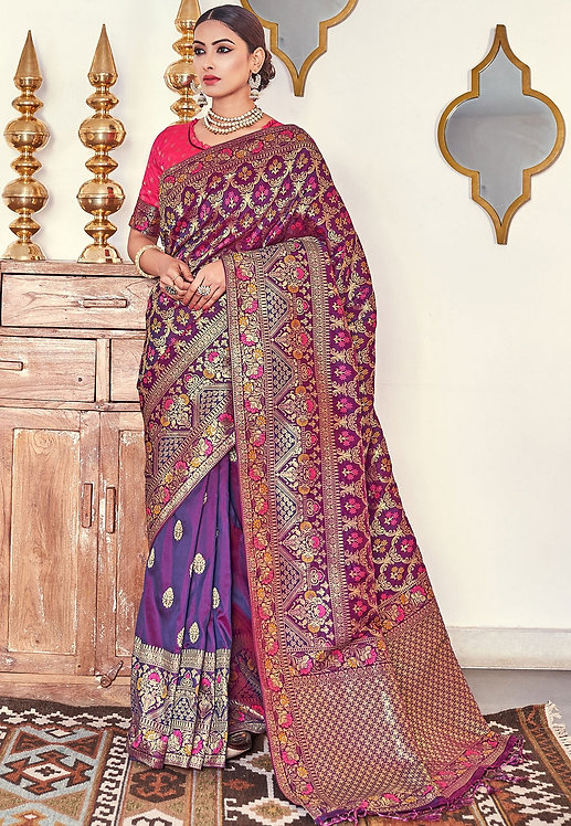 PURPLE & PINK ART SILK TRADITIONAL SAREE