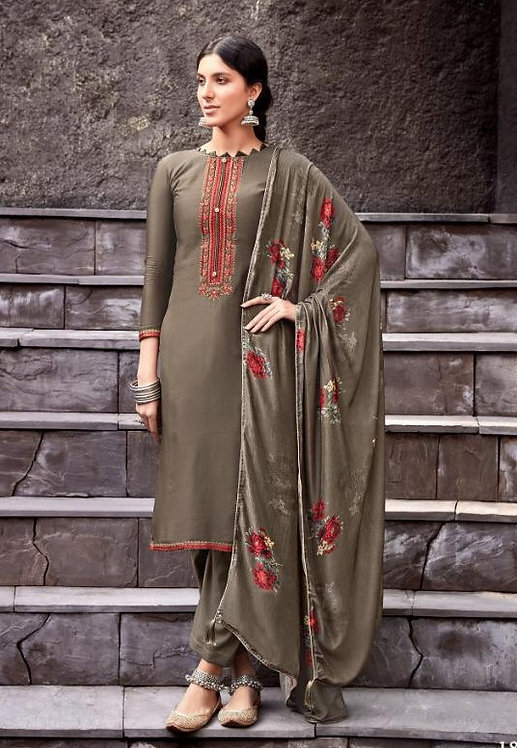 GREY VISCOSE MUSLIN COTTON SALWAR SUIT