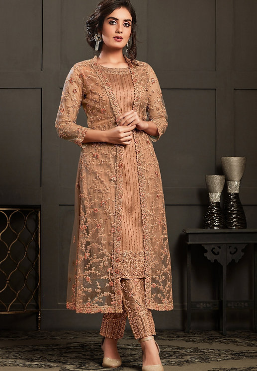 BEIGE NET EMBROIDERED JACKET STYLE TROUSER SUIT