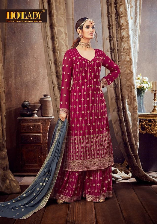 PINK GEORGETTE EMBROIDERED PARTY WEAR SUIT