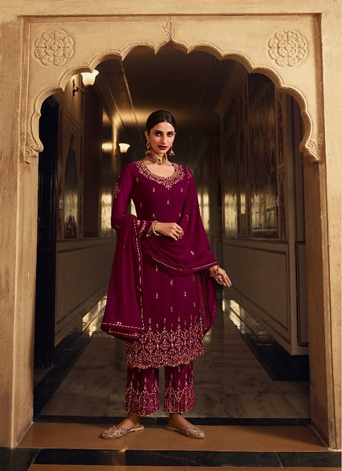 MAGENTA GEORGETTE EMBROIDERED SUIT