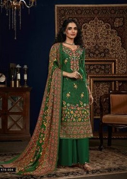 GREEN PURE PASHMINA DIGITAL STYLE PRINT SUIT