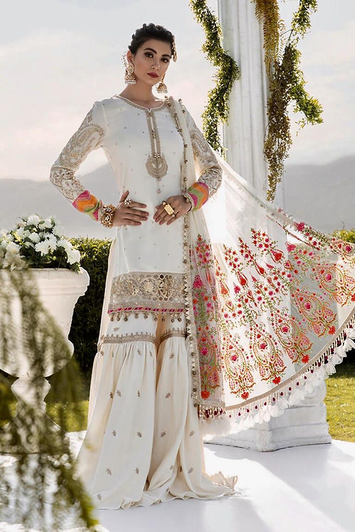 WHITE EMBROIDERED COTTON SATIN SUIT