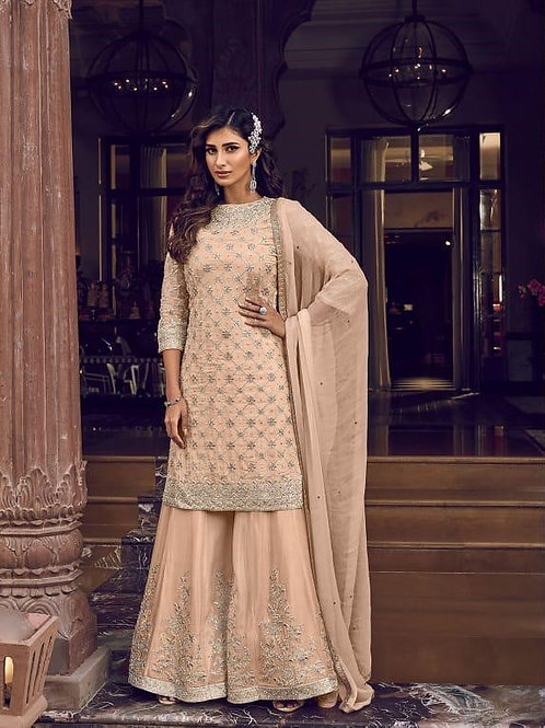 PEACH GEORGETTE EMBROIDERED PAKISTANI PALAZZO SUIT