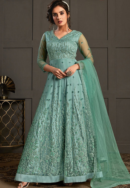 FIROZI NET EMBROIDERED LONG ANARKALI SUIT