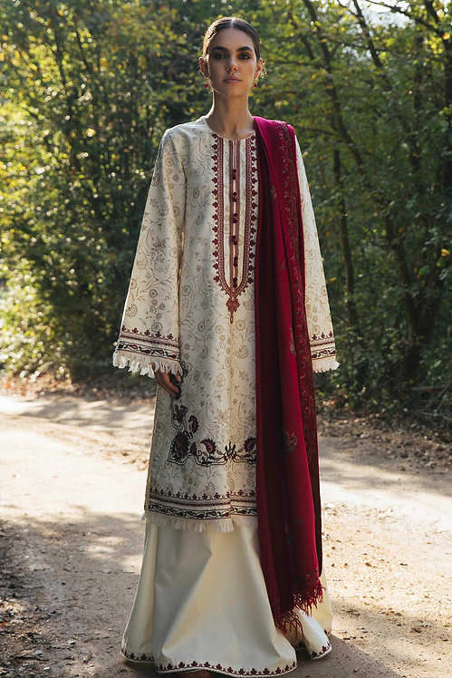 WHITE EMBROIDERED COTTON WINTER LUXURY SUIT