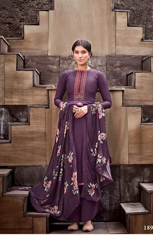 PURPLE VISCOSE MUSLIN COTTON SALWAR SUIT