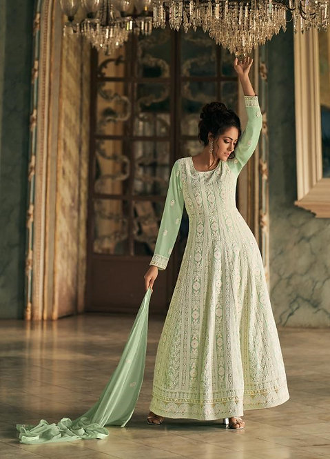 GREEN GEORGETTE LUCKNOWI ANARKALI SUIT