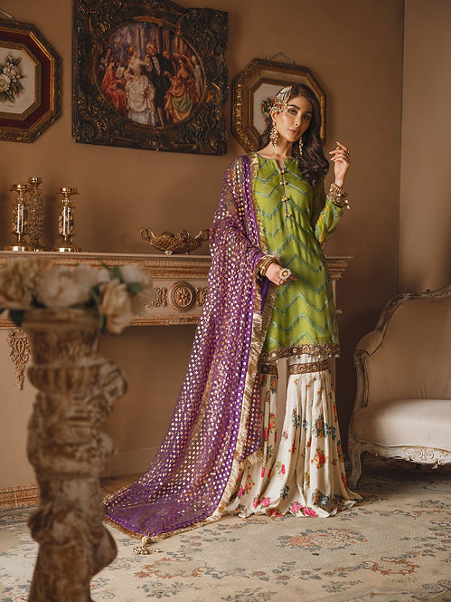 GREEN & WHITE EMBROIDERED DYED CHIFFON RAW SILK GHARARA SUIT