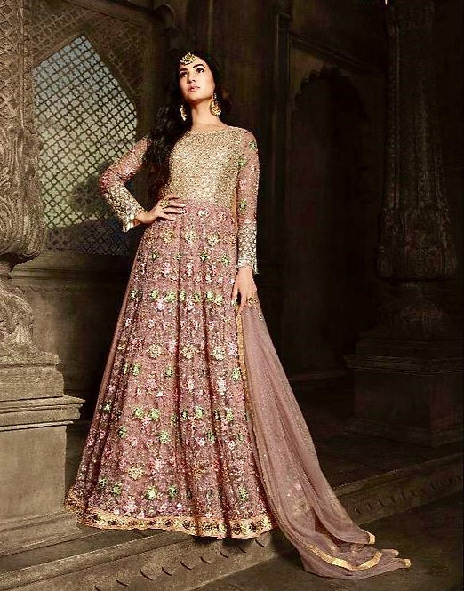 DULL PINK EMBROIDERED NET ANARKALI SUIT