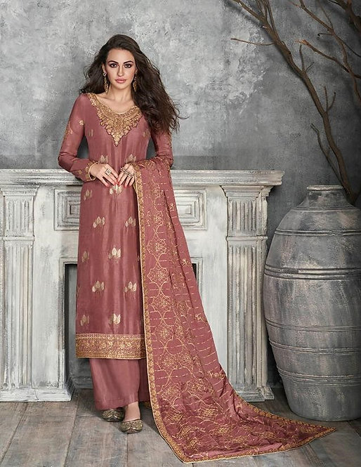 PINK EMBROIDERED SILK SUIT
