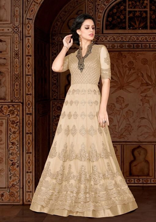 BEIGE DESIGNER PARTY WEAR SUIT