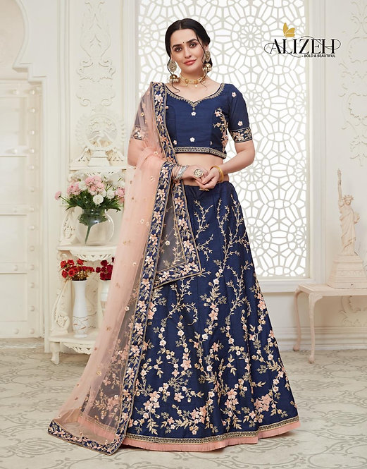 NAVY BLUE EMBROIDERED MULBERRY SILK LEHENGA