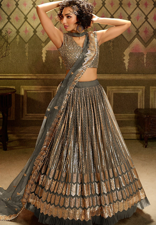 GREY NET SEQUINS EMBROIDERED LEHENGA CHOLI