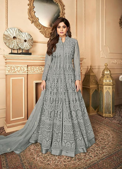 BLUE EMBROIDERED PREMIUM NET ANARKALI SUIT
