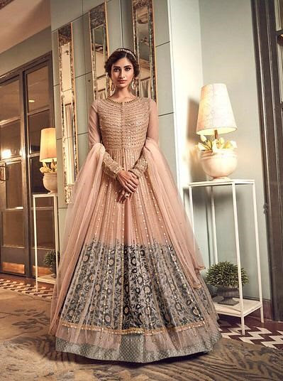 PEACH NET EMBROIDERED FLOOR LENGTH ANARKALI SUIT