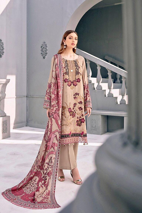 BEIGE EMBROIDERED LINEN SLUB VISCOSE SUIT