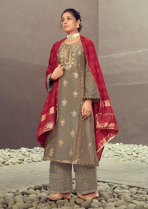 GREY EMBROIDERED SILK JACQUARD SUIT