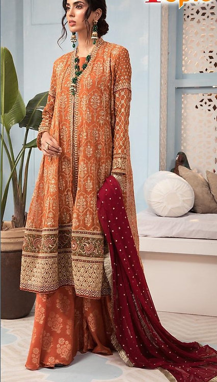 ORANGE RED HEAVY GEORGETTE EMBROIDERED SUIT
