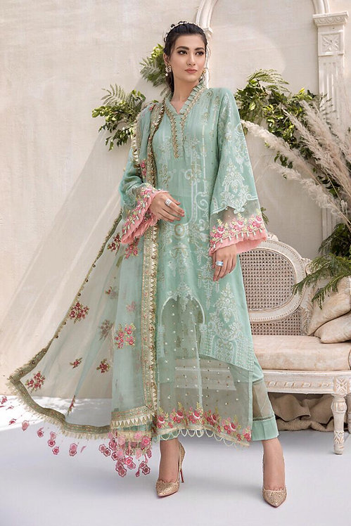 GREEN EMBROIDERED & DYED JACQUARD SUIT