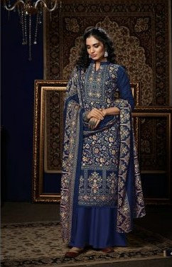 BLUE PURE PASHMINA DIGITAL STYLE PRINT SUIT