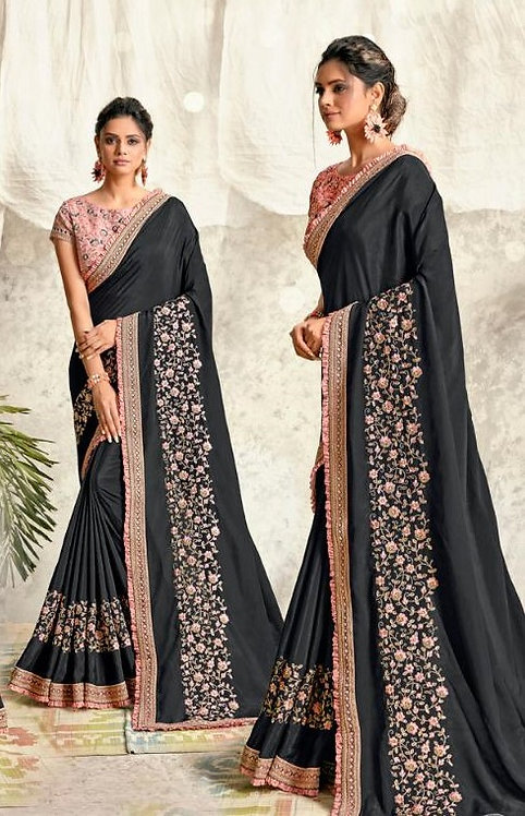 GREY & PINK SILK GEORGETTE SAREE