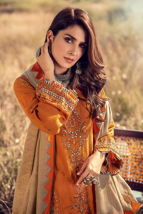 TANGERINE EMBROIDERED & DYED KHADAR WINTER SUIT