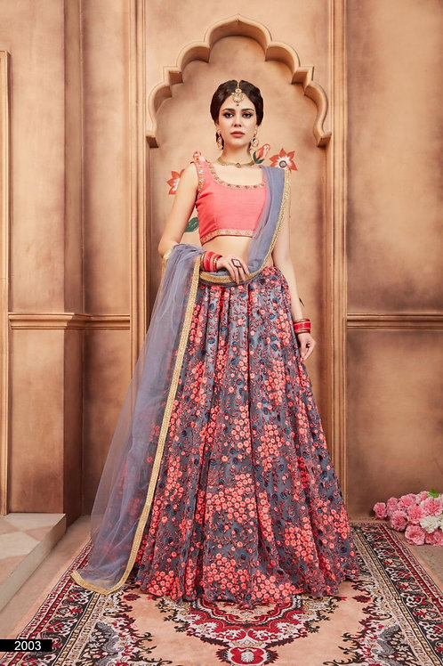 GREY NET THREAD AND ZARI WORK LEHENGA