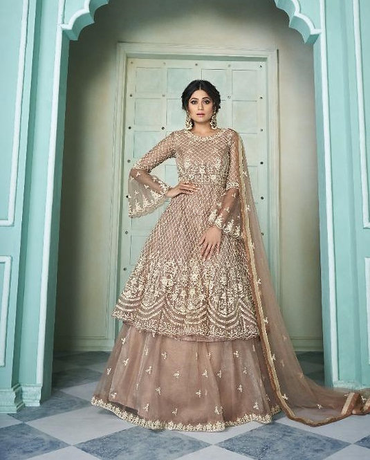 BEIGE EMBROIDERED NET SKIRT STYLE SUIT