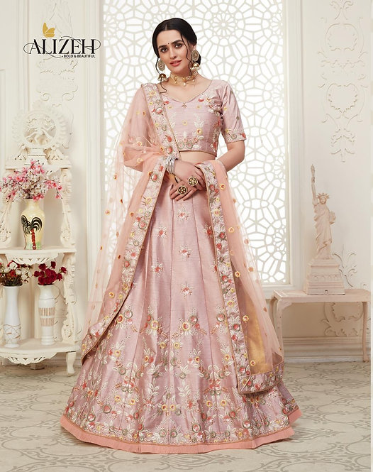 PINK EMBROIDERED MULBERRY SILK LEHENGA