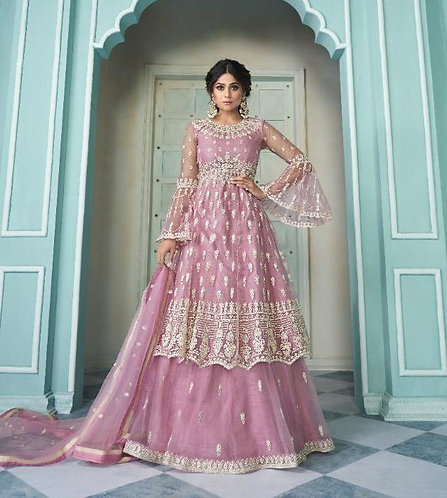 PINK EMBROIDERED NET SKIRT STYLE SUIT