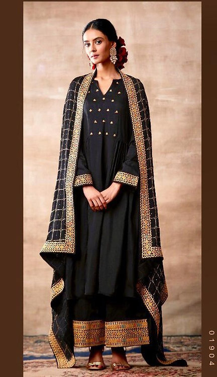 BLACK EMBROIDERED TUSSER SILK SUIT