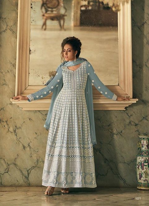 BLUE GEORGETTE LUCKNOWI ANARKALI SUIT