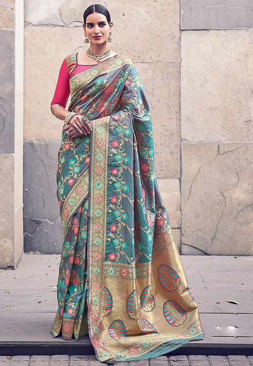 GREEN & PINK ART SILK TRADITIONAL SAREE
