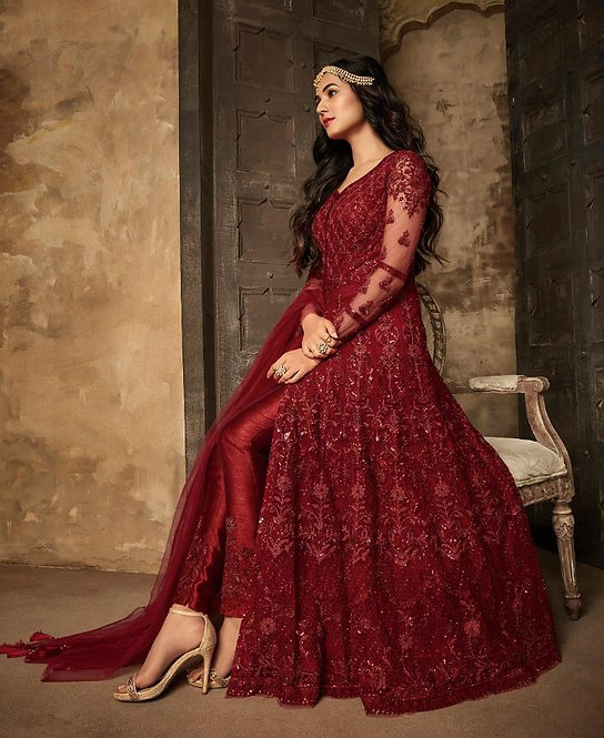 RED NET DESIGNER PARTY WEAR SALWAR SUIT