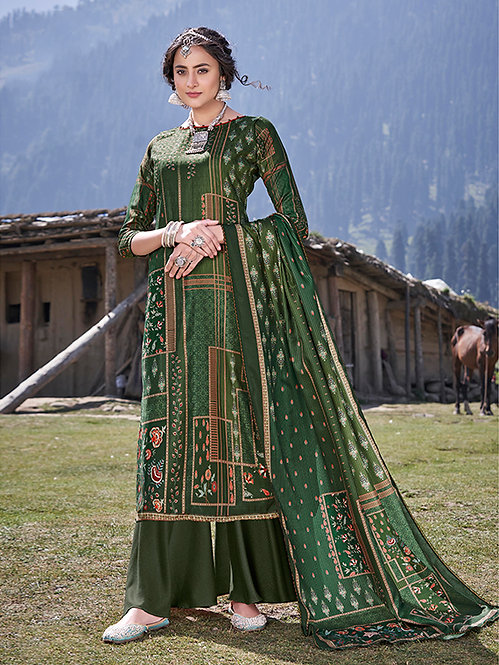 GREEN PURE WOOL PASHMINA DIGITAL PRINTED DRESS MATERIAL
