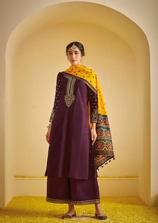 PURPLE EMBROIDERED TUSSER SILK SUIT