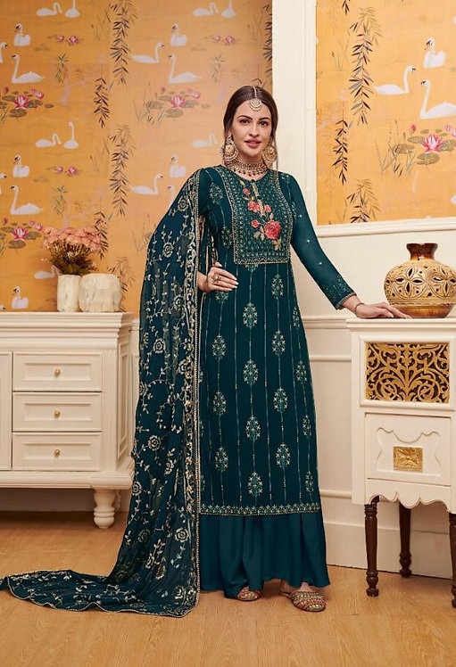 BLUE FAUX GEORGETTE EMBROIDERED SALWAR SUIT