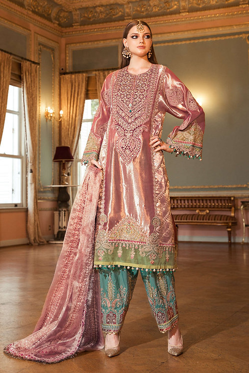 SALMON PINK EMBROIDERED ORGANZA TISSUE BRIDAL WEAR SUIT
