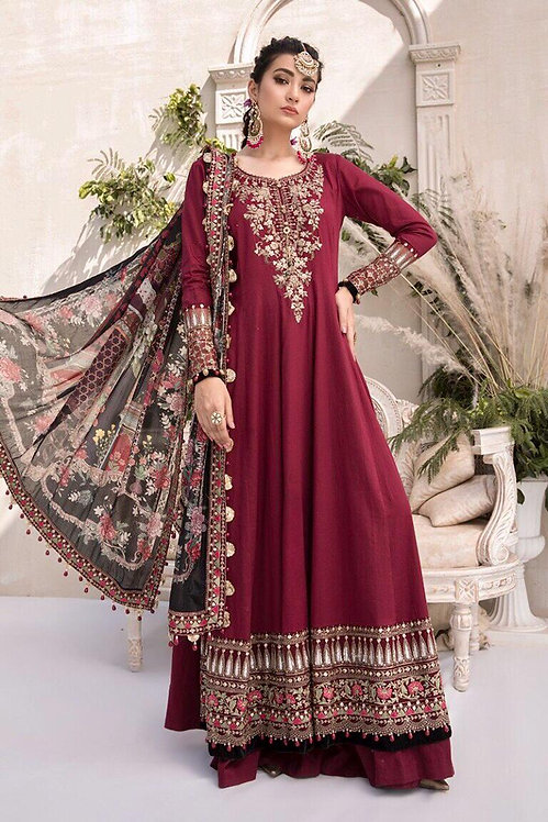 MAROON EMBROIDERED DYED COTTON SATIN SUIT