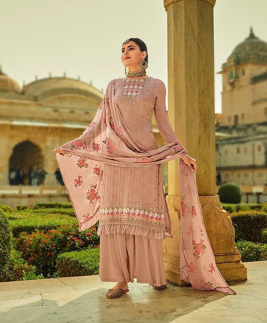 PINK EMBROIDERED CHINNON SUIT