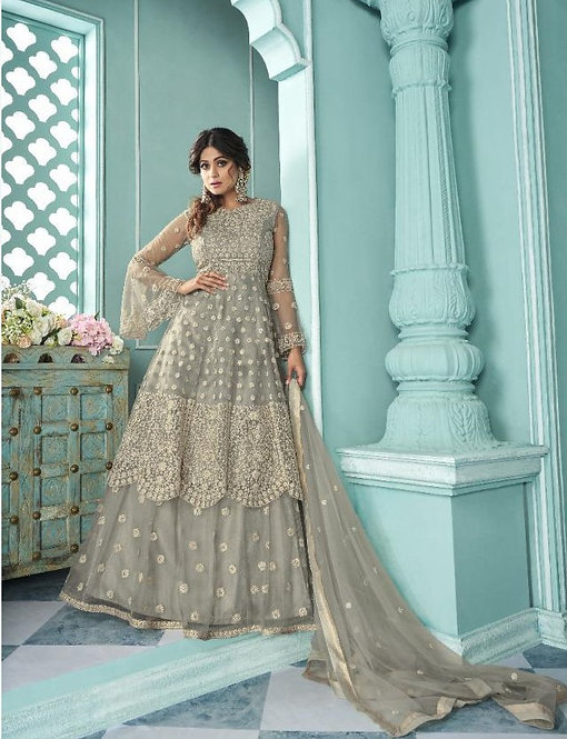 GREY EMBROIDERED NET SKIRT STYLE SUIT