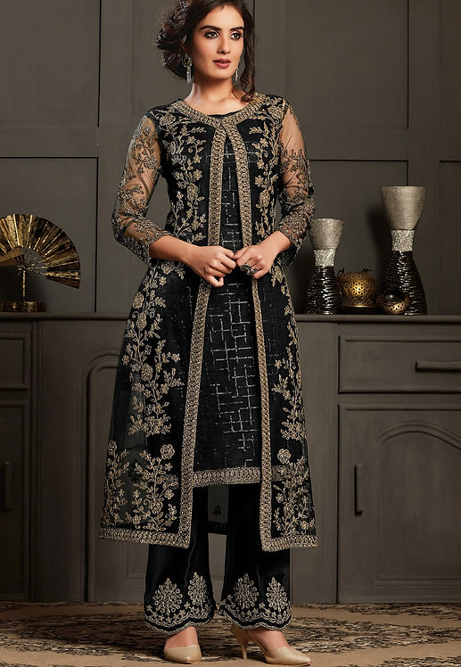 BLACK NET EMBROIDERED JACKET STYLE TROUSER SUIT