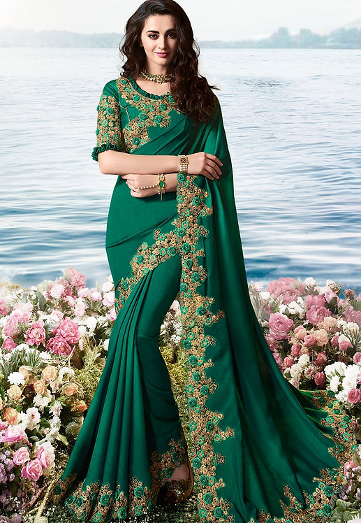 DARK GREEN ART SILK HEAVY EMBROIDERED SAREE
