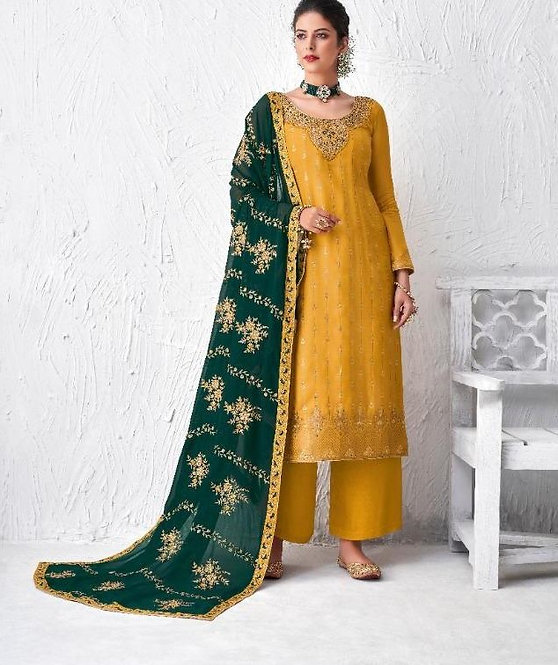 YELLOW DOLA SILK SUIT