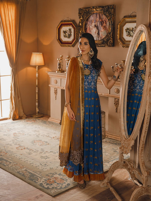 BLUE & YELLOW DYED EMBROIDERED ORGANZA CHIFFON RAW SILK SUIT